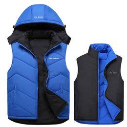 Wholesale Reversible Down Jacket - Wholesale- New Arrival Men Sleeveless Jacket Winter Casual Down Vest Reversible Two Sided Wear Slim Men's Vest Thickening Waistcoat