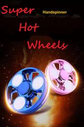 Wholesale Skateboard 12 Wheels - Newest Fingertips spinner LED Double-deck super hot wheels Hand Spinner round wheels EDC Fidget Spinner spot Decompression toy