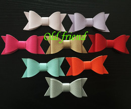Wholesale Synthetic Hair Bow Clip - Wholesale- 30pcs lot, Newest Hair Synthetic Leather Bows without clips, Kid's Hair Baby Ribbon bows hair accessory