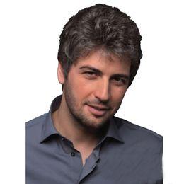 Мужские парики косплей онлайн-ZF Моды мужские короткие парики прохладный вьющиеся синтетические мужские парики серый косплей стиль парики натуральных волос