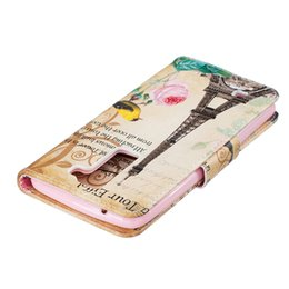 Wholesale Tower Cards Credit - Eiffel Tower Wallet Leather Case For Samsung S5 S6 S7 S7 Edge Back Stand Holder Credit Card Holder Slot Phone Bags Cases