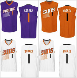Wholesale Mixed Basketball Jersey - New Arrivals TOP 2017 Devin Booker Basketball Jerseys shirts BOOKER #1 Purple Orange White Mix order new fabrics