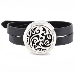 Wholesale Padded Felt - Free with Felt Pads! Wholesale Fashion 316L Stainless Steel Aromatherapy Diffuser Locket Bracelet with Leather Bracelet