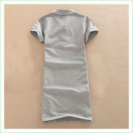 Wholesale blue polo dress - Wholesale- Polo-neck Tennis Dress Women Short-sleeve Cotton Knee-Length Dresses Tennis Badminton