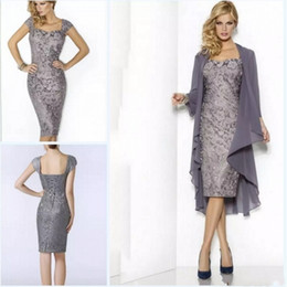 Wholesale Sweetheart Blue Dress Knee Length - Sexy Mermaid Lace Mother Of The Bride Dresses With Jacket Long Sleeve Elegant Short Wedding Party Gowns Fashion Mother's Dress Cheap 2017