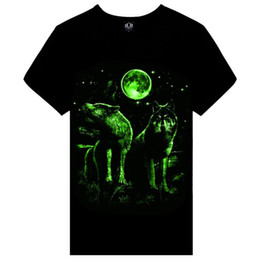 Wholesale Glowing Clothes - Summer brand clothing Novelty Mens tshirt homme 3D Glow in the Dark Luminous t shirt Men Wolf Printed Short Sleeve tee free shipping