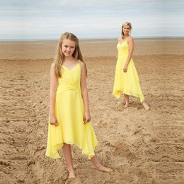 Wholesale Mother Asymmetrical Dress - Simple 2017 Summer Beach Dresses for Girls and Mothers Spaghetti Chiffon Flower Girl Dresses Cheap Birthday Party Dresses