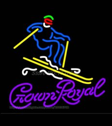"Wholesale red tube game - Crown Royal Surfboard Neon Sign Light Custom Handmade Real Glass Tube Pub Art Sport Skiing Game Match Display Neon Signs 24""X24"""