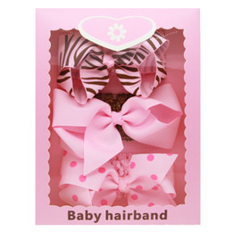 Wholesale Stripe Ribbon Hair Bows - Baby Headbands Bow 3pcs Set with Box Girls Wide Band Grosgrain Ribbon Bow Hairbands Kids Boutique Dot Stripe Hair Accessories KHA571