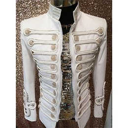 Wholesale outerwear blazers - Wholesale- White Buttons Performance Blazer Outerwear Cotton Fashion Stage Wear for Ballroom Singer Ds Dancer Nightclub Clothes DH-018