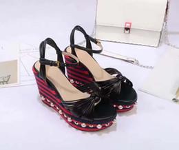 Wholesale Drop Ship High Heels - 2017ss runway high heel heeled wedge pearls women lady summer platform sandal footwear shoes welcome drop ship G2351