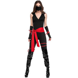 Wholesale Cosplay Sexy Japanese - Halloween Costumes Jupsuit Women Autumn Sleeveless V-neck Black Cosplay Party Club Costume Solid Black Sexy With Belt Adult Mascot Costume