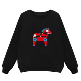 Wholesale Horse Pullover - New arrival women sweater long sleeves horse sweatshirt printed pullover spring and autumn lady casual blue wholesale 557