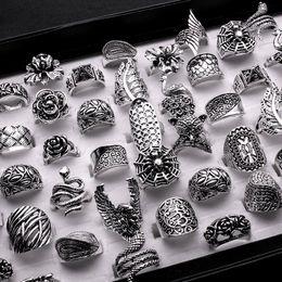 Anéis barrocos on-line-lotes por atacado misturado 25 pcs gótico senhora tribal / mulheres esculpidas top-qualidade do vintage de bronze antiqued prata anéis barrocos
