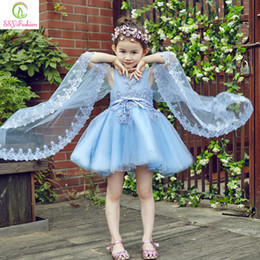 Wholesale Christmas Shawl For Girls - 2017 High-grade Mini Appliques Flower Girls Dresses for Wedding Children Princess Sky Blue Lace Embroidery Sleeveless with Shawl Party Gowns