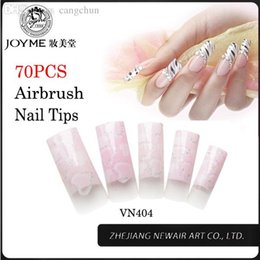 Wholesale Long French Nails - Wholesale-70pcs French Manicure Tips 10 Sizes Professional Nail Art Tip Fashion and Beauty Half False Nails ABS Long Tips