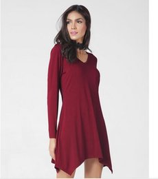 Wholesale Pluse Size Dresses - Pluse Size New Sexy Loose Casual Women Dresses Solid V Neck Long Sleeve Evening Dresses Wine Red Black Dresses 070216-01