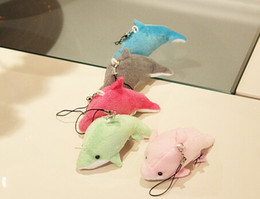 Wholesale Plush Toys Dolphin - 2017NEW100pcs lot small dolphin pendant mobile phone pendant bag pendant small cloth dolls stuffed toys