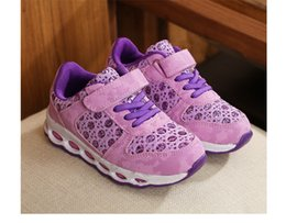 Wholesale Crocheted Casual Shoes - Kids shoes fashion girls LED lamp princess shoes children crochet sequins casual footwear 2017 autumn kids comfortable running shoes T4766