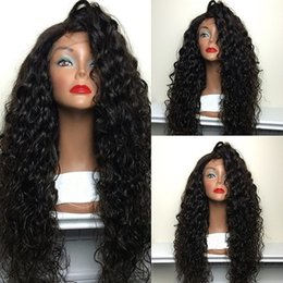 Wholesale Heat Resistant Synthetic Lace Wigs - Cheap Top Sale 200% Density Natural Black Color Wigs Water Wave Synthetic Lace Front Wig Glueless Heat Resistant Japan Fiber Lace Wig