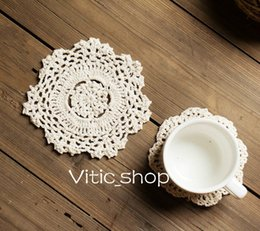 Wholesale Crochet Round Pattern - INS 1 PCS Beige lace coaster Handmade Crochet pattern photo tools Crocheted Doilies cup Pad table cloth Round anti-skid cup tea holder cute
