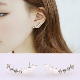 Wholesale Silver Screw Earring Prices - Wholesale Price Delicate Earcuffs Authentic Austria Crystal Pierced Stud Earrings Pearl Ear Cuff Clip Brincos For Women Silver Jewelry