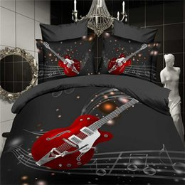 Wholesale Guitar King - 3D Fashion Music notes bedding set black red guitar quilt duvet cover full queen size double bedspread sheets bed pillowcase