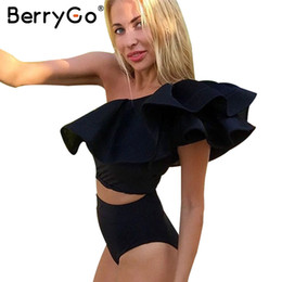 Wholesale Two Piece Ruffle Romper - BerryGo Sexy ruffle one shoulder bodysuit Women summer beach two piece jumpsuit romper Casual playsuit overalls bodycon crop 17501