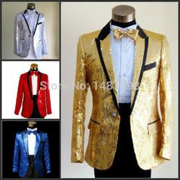 Wholesale Men Evening Suit Pants - Wholesale- 2016 New Sequins men's show suits wedding groom groomsman evening party host dress black edge 5 colors ( jacket+pant+girdle+tie)