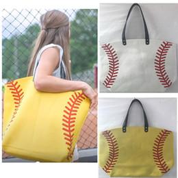 Wholesale Sporting Softball - Fashion Canvas Softball Baseball Shoulder Bags Tote Sports Bags Casual Softball Bag Football Soccer Basketball Tote Bag 56*44*21cm HH-B04