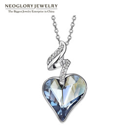Wholesale Color Crystal Necklace - Neoglory Austrian Crystal Rhinestones Four Color Heart Love Chain Necklaces & Pendants For Women 2017 Gift India Jewelry