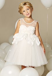 Wholesale Girls Pageant Dreses - 2017 Cute Simple A-line Jewel Tea-length Tulle Flower Girls Dresses with Appliques FLD039 Girls Pageant Dreses on sale