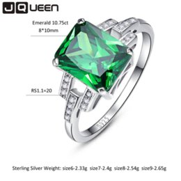 Wholesale Emerald Russian - Classic 10.75ct Nano Russian Emerald Ring Emerald Cut Solid 925 Sterling Silver Ring Set Best Brand Fine Jewelry For Women