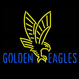 Wholesale neon sign eagles - Fashion New Handcraft GOLDEN EAGLES Real Glass Beer Bar Display neon sign 19x15!!!Best Offer!
