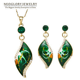 Wholesale Necklace Peacock - Neoglory Gold Plated Enamel African Costume Fashion Brand Jewelry Sets Bridal Bridesmaid Engagement Indian Gifts