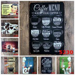 Segni di manifesti di caffè d'epoca online-Targhe in metallo in metallo Vintage Coffee Menu Hot Chocolate Ferro Dipinto 20 * 30cm Tin Poster per Bar Decorazione Creative Home Furnishing 3 99rjd
