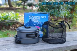 Wholesale Outdoor Camping Cook Sets - High Quality Outdoor Tableware Backpacking Cooking Picnic Outdoor Camping Hiking Cookware Bowl Pot Pan Set Camping Kitchen Tools