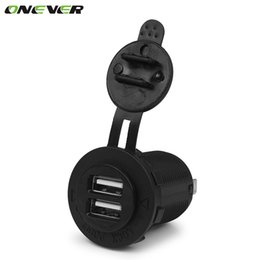 Wholesale Adapter For Car Outlet - Wholesale- Auto Motorcycle Dual USB Socket Charger Power Adapter Outlet Power Mobile Phone Charger for Car Truck Motorcycle ATV Boat