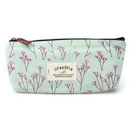 Wholesale Flower Pencil Cases - Wholesale- Countryside Flower printing Floral Pencil Pen Case Cosmetic Makeup Bag