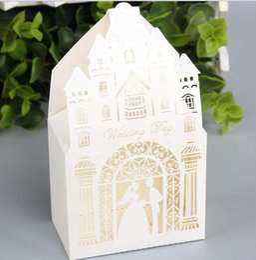 Wholesale Wood Castles Wholesale - Castle Hollow Out Candy Boxes Fancy Church Design Gift Case Wedding Engagement Events Sweetbox Favors 100pcs lot