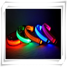 Wholesale Glow Tie - Pet Supplies Pets Dog Collars LED Lights Leopard Flash Nitght Glow Lighted Dog Collars Dog Cat Pet Stripe Neck Tie Free Shipping