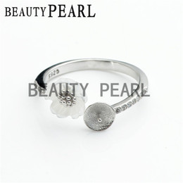 Wholesale Bulk of Pieces Ring Blank Jewellery Sterling Silver White Shell Flower Ring Mount for DIY