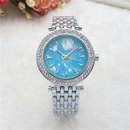 Wholesale Best Wrist Watches - New Dress Ladies Watches Luxury brand Full Stainless Steel band Diamond Quartz Wrist watch For Women Female best Gift clocks Montre Homme