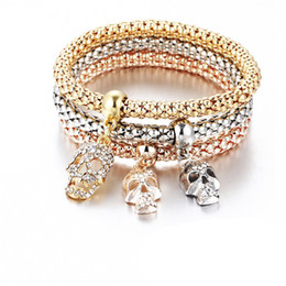 Wholesale Colorful Skull Bracelets - Fashion Bracelets new 2017 Western Colorful Shambhala Skull Pendant Bracelet Christmas Gift Thanksgiving Gift Alloy Tri Color Set