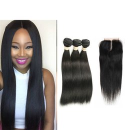 Wholesale Brazillian Hair Bundles Straight - Wholesale Brazilian Straight Hair With Closure 4x4 Lace Closure With Bundles 100% Brazillian Straight Virgin Human Hair Extensions