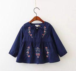 Wholesale Wholesale Children Boutique Clothes - Embroidery Girls Shirts New 2017 Floral Ruffle Long Sleeve Autumn Kids Tops Children Princess Dress Shirts Boutique Clothes C1739