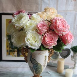Wholesale Blue White Emperor - Wholesale-7 Heads bouquet peony flower bouquet palace emperor Rose silk flower rose bouquet wedding decoration silk artificial flower