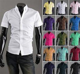 Şeker Renk Elbise Gömlek Yeni Yaz erkek Gömlek Kore Casual Slim Fit Erkek Gömlek Moda erkek Kısa Kollu Gömlek cheap korean mens fashion shirt nereden kore mens moda gömlek tedarikçiler