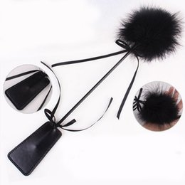 Wholesale Leather Spanking Gear - Leather Paddle Feather Whip Cane Spanking Tickle Sex Flirt Kit Kinky Fetish Torture Gear Sex Toy