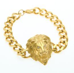 Wholesale Tiger Head Charms - Hip Hop Tiger Eye Lion Head Cuban Link Bracelet Gold Plated Stainless Steel Animal Lion King Bangles Bracelets